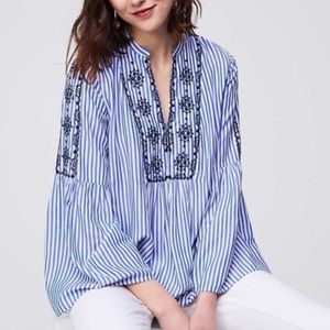 LOFT Embroidered Blue and White Striped Blouse NWT